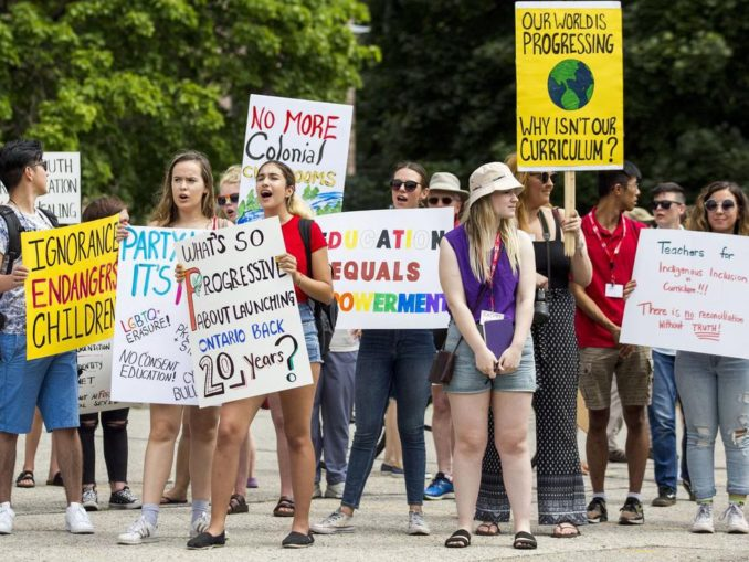Students protest return to old sex-ed curriculum