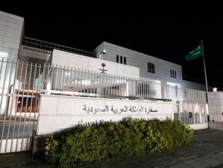 The Saudi Arabian Embassy is shown in Ottawa, Canada