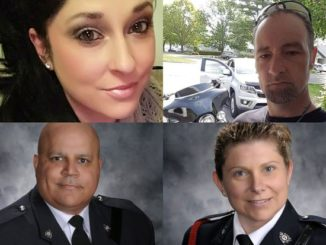 Clockwise from top left: 32-year-old Bobbie Lee Wright, 42-year-old Donald Adam Robichaud, 43-year-old Cst. Sara Mae Helen Burns, and 45-year-old Cst. Lawrence Robert (Robb) Costello.