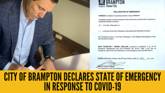 City of Brampton declares State of Emergency in response to COVID-19