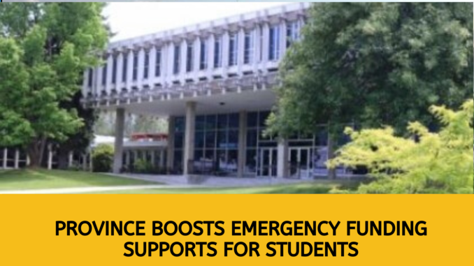 Province boosts emergency funding supports for students