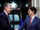 Prime Minister Justin Trudeau speaks with Nova Scotia Premier Stephen McNeil