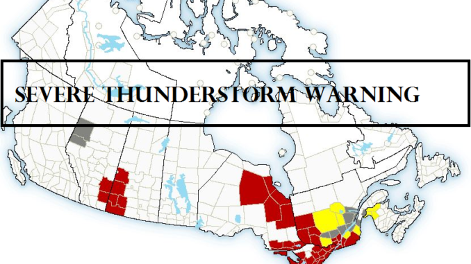 Severe thunderstorm warning in effect for Brampton, Mississauga, and these cities!