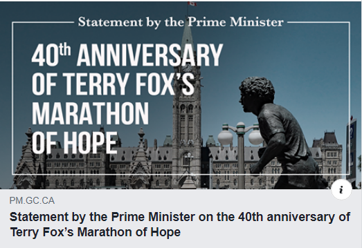 Statement by the Prime Minister on the 40th anniversary of Terry Fox's Marathon of Hope