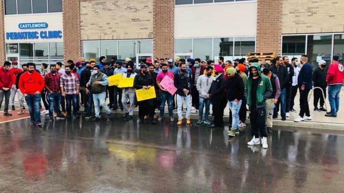 Punjabi NRIs protest against farmers bill in Canada